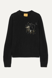 Le Lion Taurus embellished embroidered wool sweater