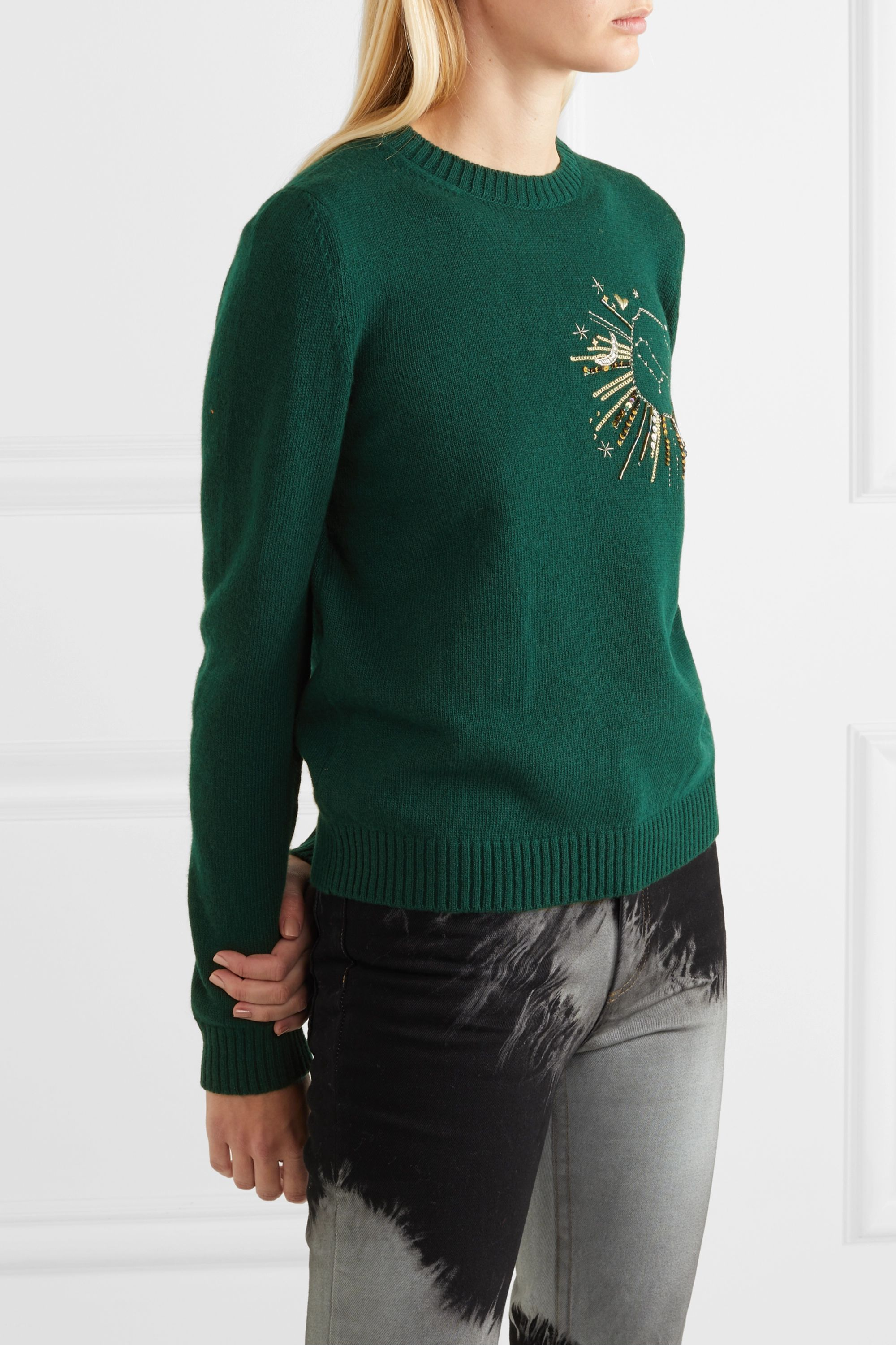 Le Lion Gemini embellished embroidered wool sweater