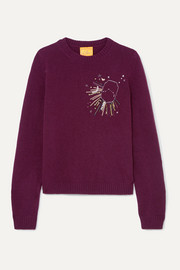 Le Lion Aries embellished embroidered wool sweater
