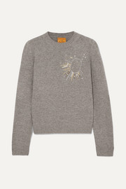 Le Lion Libra embellished embroidered wool sweater