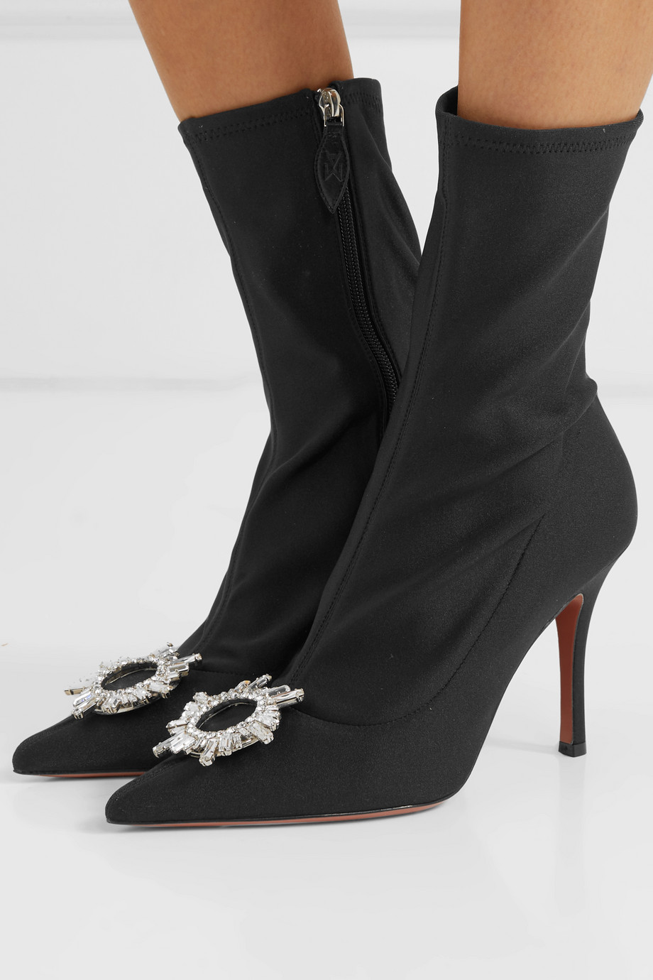 Amina Muaddi Begum crystal-embellished stretch-satin sock boots