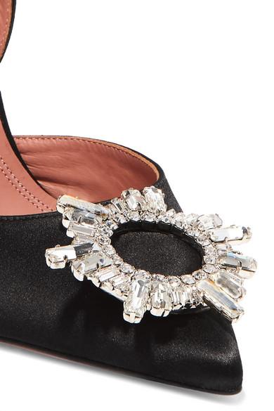 Amina Muaddi Pumps Begum crystal-embellished satin slingback pumps
