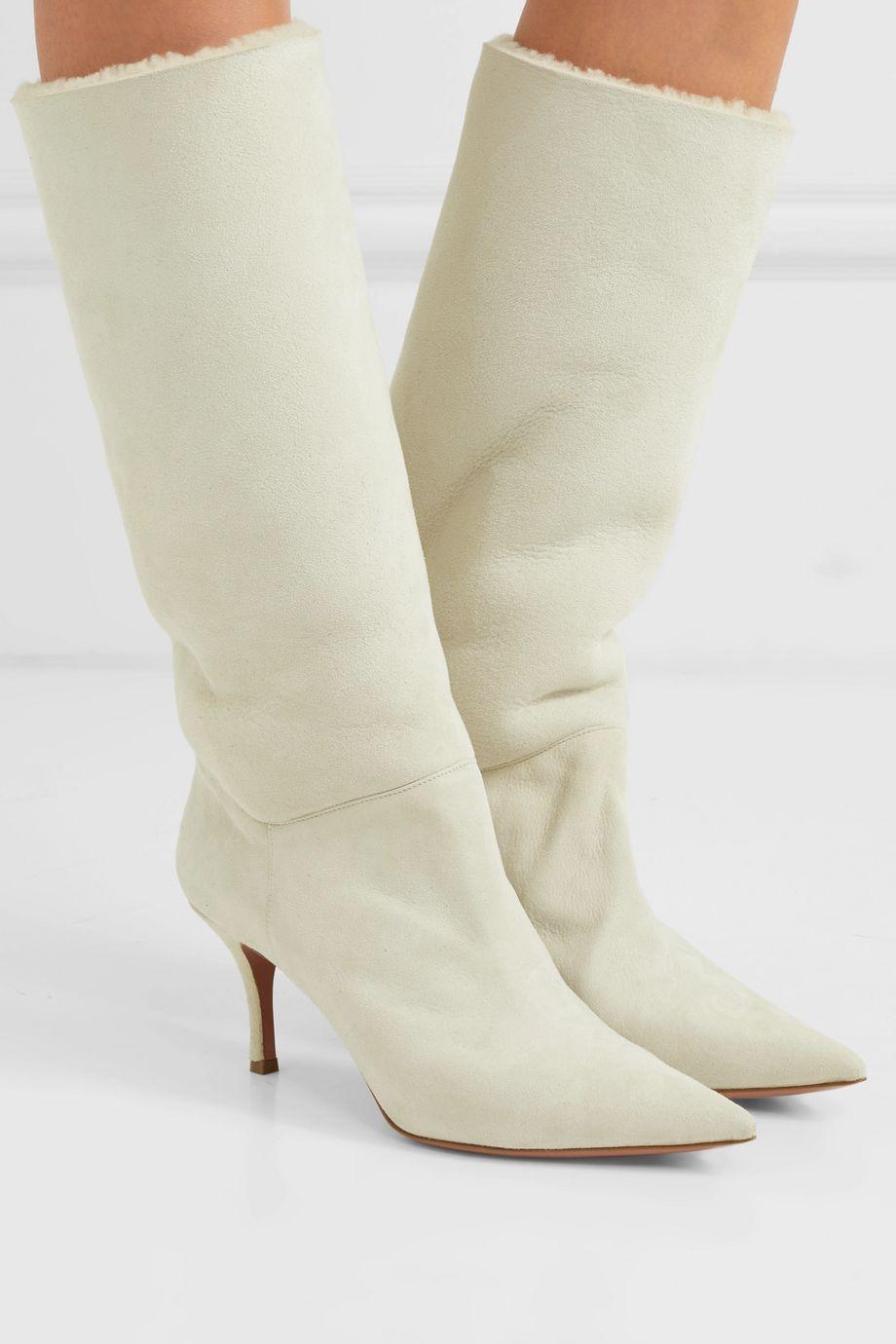 Amina Muaddi Ida shearling-lined suede knee boots