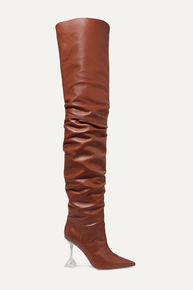 new style quality design competitive price Amina Muaddi | Olivia leather and PVC over-the-knee boots | NET-A ...