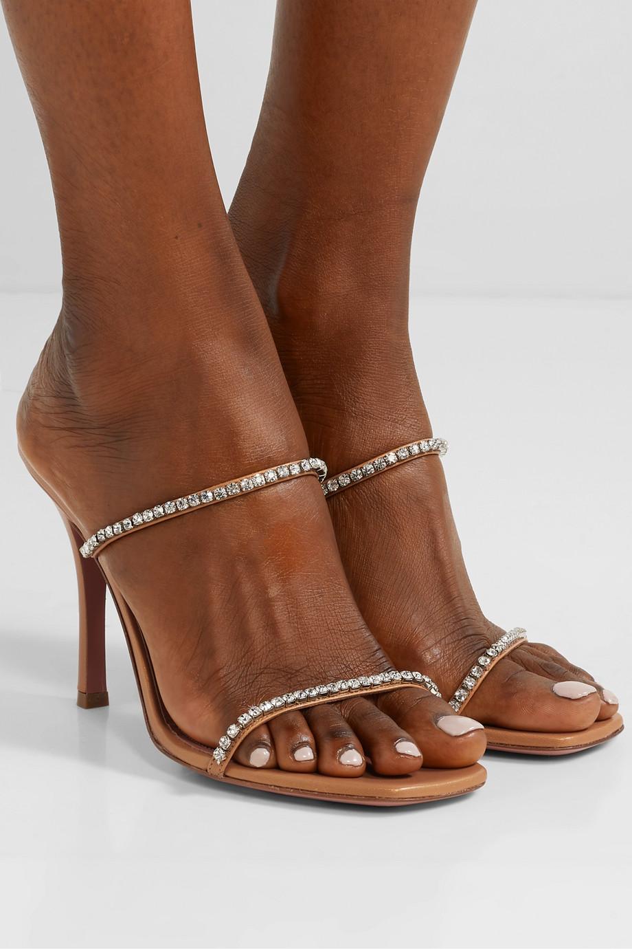 Amina Muaddi Gilda crystal-embellished leather mules