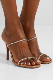 Gilda crystal-embellished leather mules