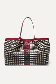 Serapian Secret watersnake-trimmed woven leather tote