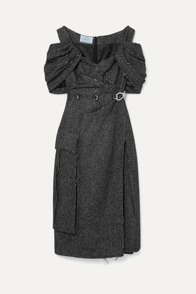 Prada Off-the-shoulder Ruched Embellished Wool-blend Tweed Midi Dress In Gray
