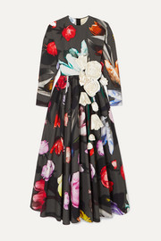 Prada Appliquéd floral-print cotton-sateen gown