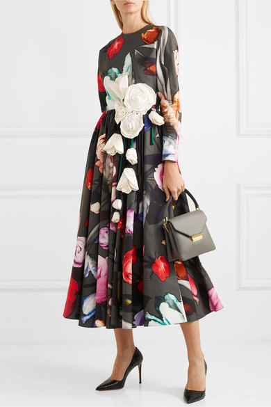 Appliquéd Floral Print Cotton Sateen Gown by Prada