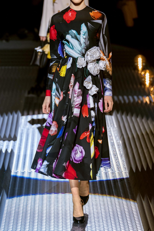 Black Appliqued Floral Print Cotton Sateen Gown Prada Net A Porter