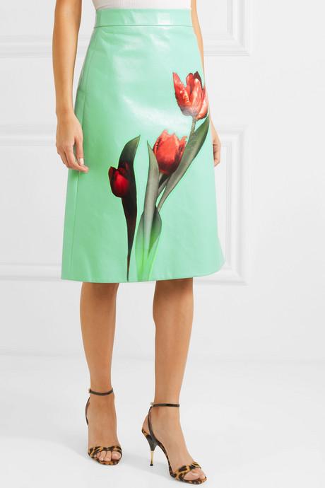 Floral-print leather midi skirt