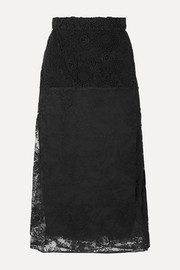 Prada Paneled lace midi skirt