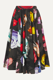 Prada Pleated floral-print cotton midi skirt