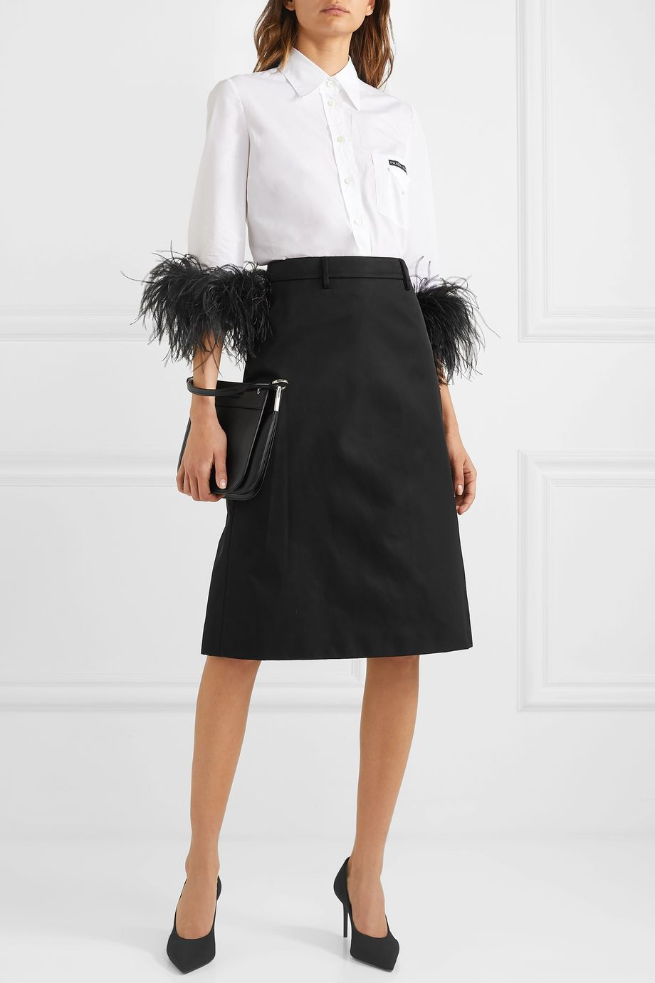 Prada Appliquéd nylon midi skirt