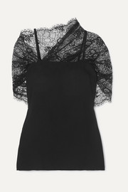 Prada Cape-effect lace and georgette top