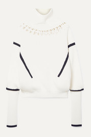 Lateral cutout ribbed merino wool and cotton-blend turtleneck sweater