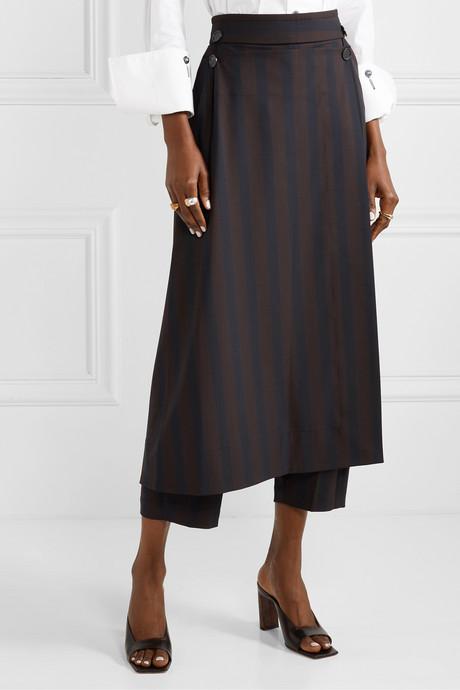 Linked convertible striped woven straight-leg pants