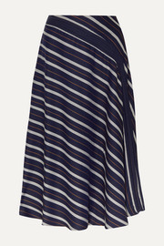 palmer//harding Radiant pleated striped twill midi skirt