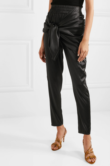Hammam draped stretch-silk satin tapered pants
