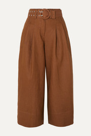 Nicholas Belted linen culottes