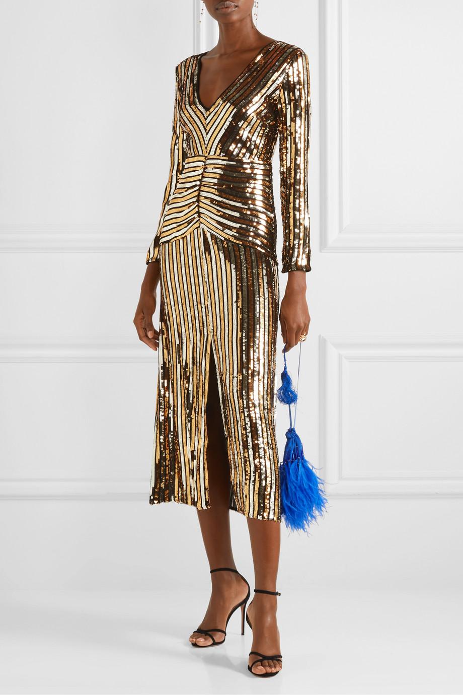 RIXO Emmy striped sequined chiffon midi dress