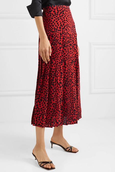 Tina pleated leopard-print silk crepe de chine midi skirt