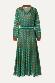 RIXO Annie houndstooth knitted midi dress