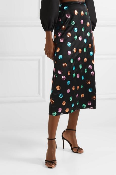Kelly sequin-embellished silk and Tencel-blend satin midi skirt