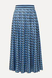 RIXO Brandy houndstooth knitted midi skirt