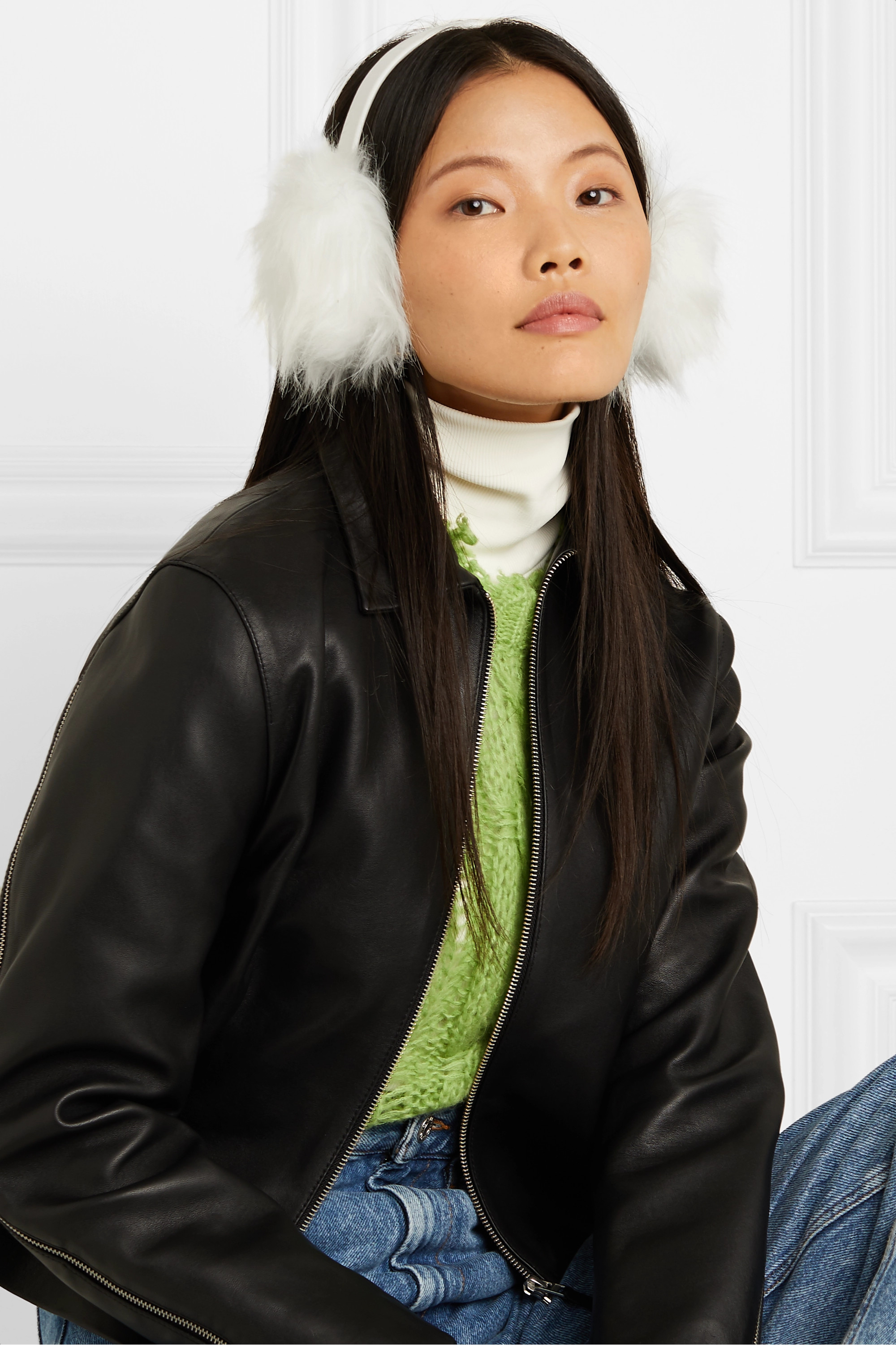 Eugenia Kim Janine leather and faux fur earmuffs