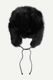 Owen leather-trimmed faux fur hat