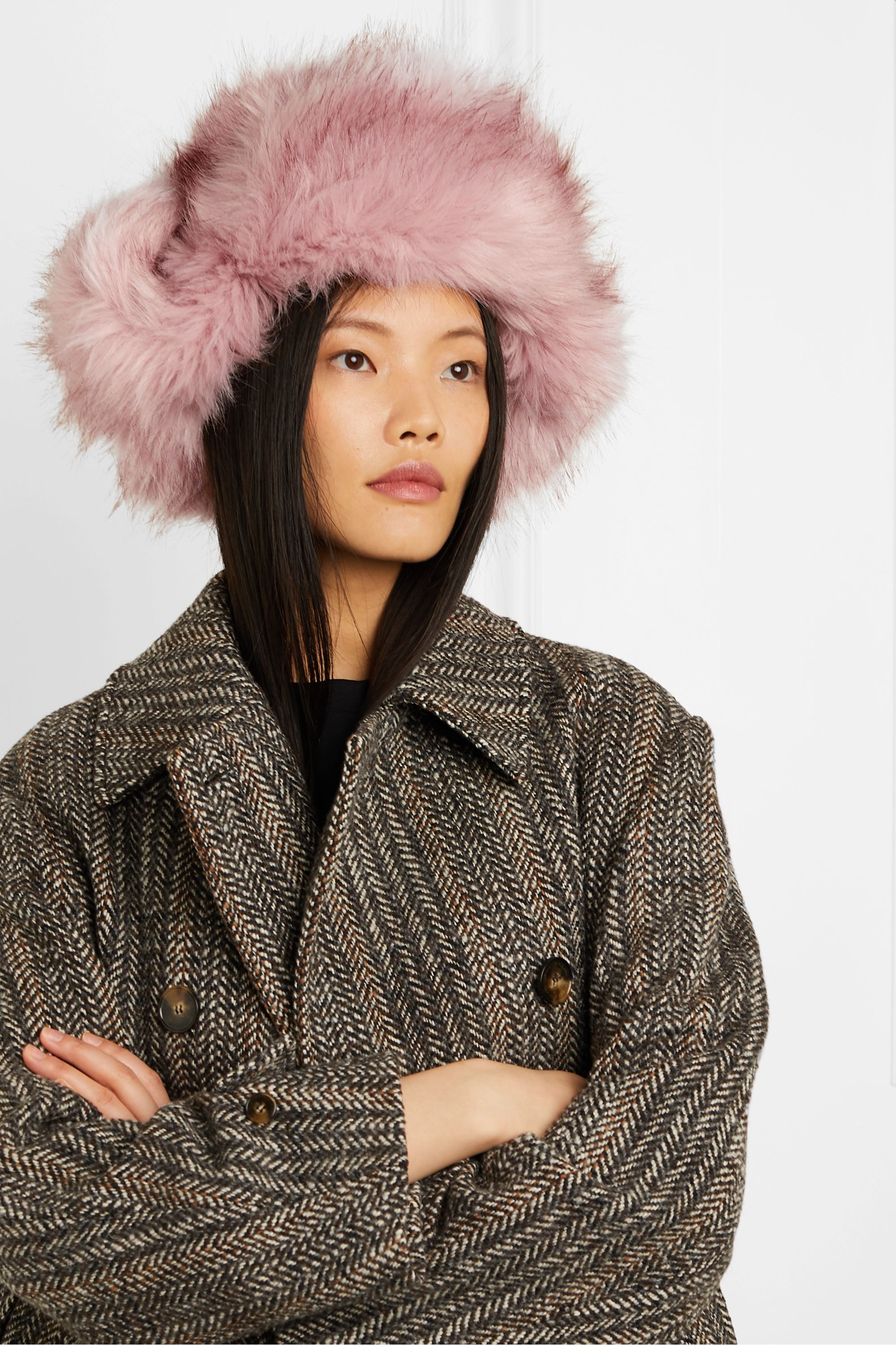 Eugenia Kim Owen leather-trimmed faux fur hat