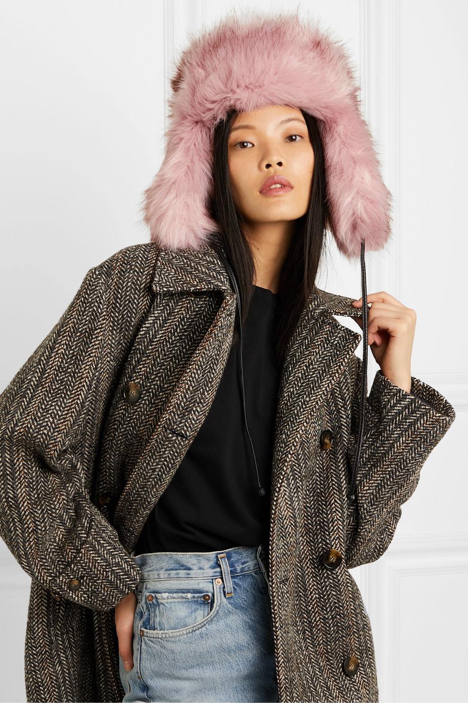 Eugenia Kim Owen leather-trimmed faux fur hat