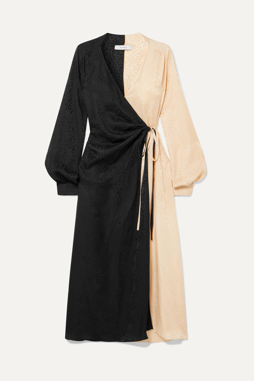 Art Dealer Ruched two-tone silk-jacquard wrap dress