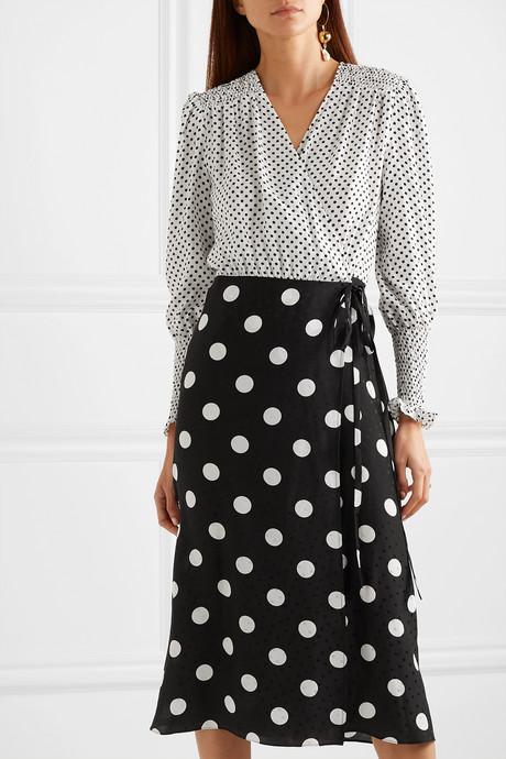 Ruffled polka-dot silk-jacquard wrap dress