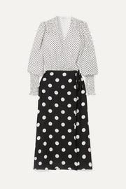 Ruffled polka-dot silk-jacquard wrap dress