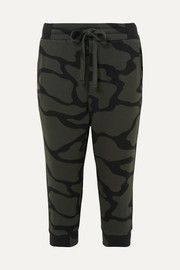 Cropped cotton-blend camouflage-jacquard track pants