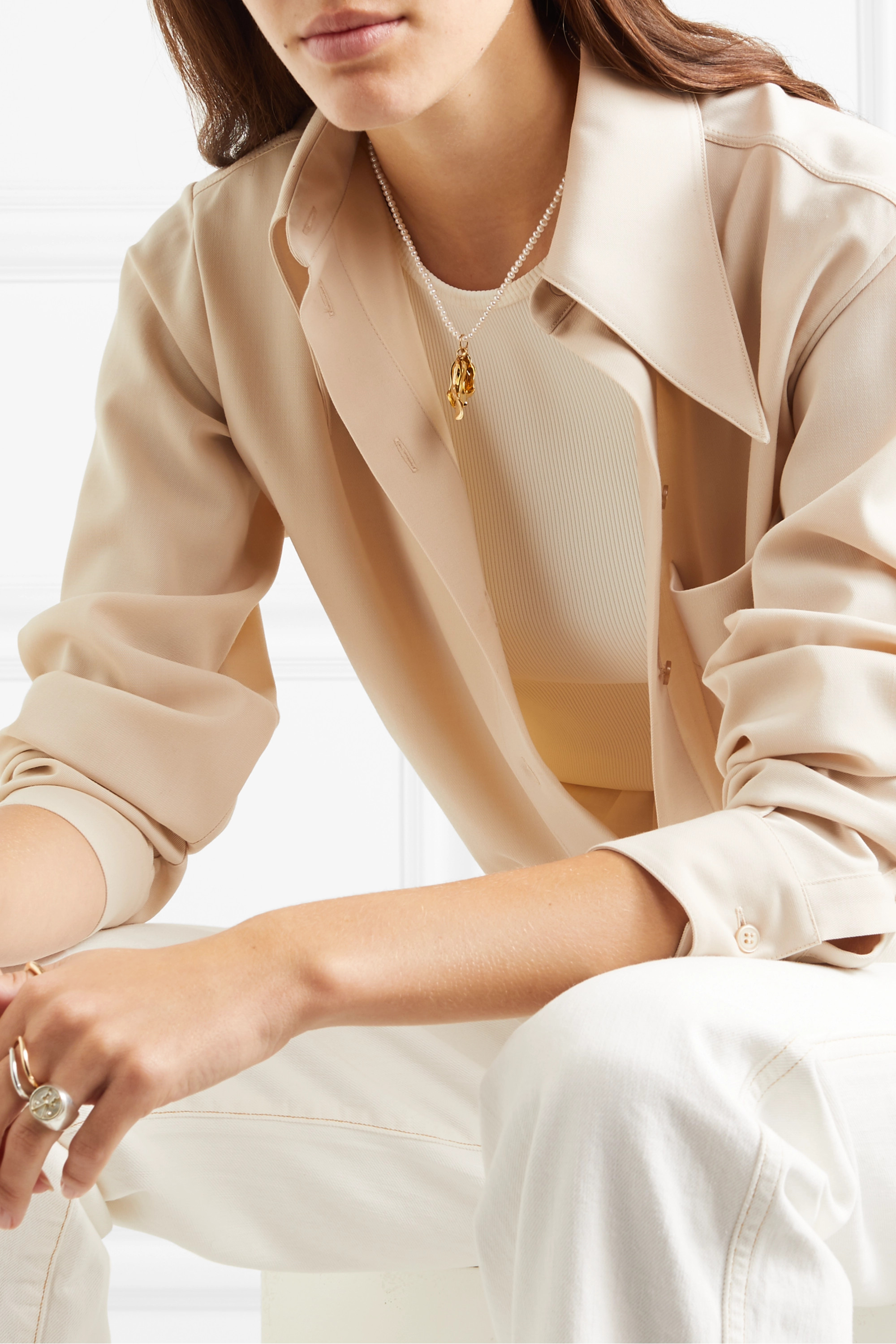 Leigh Miller + NET SUSTAIN Azalea gold-plated pearl necklace