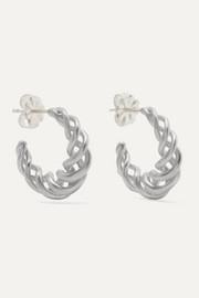 Small rhodium-plated hoop earrings