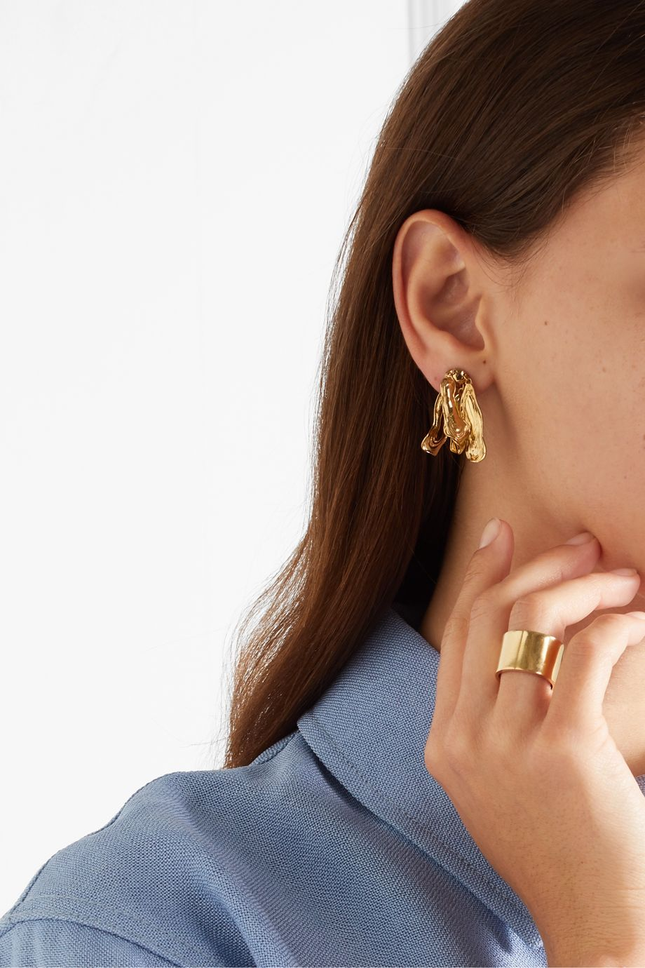 Leigh Miller + NET SUSTAIN gold-plated earrings