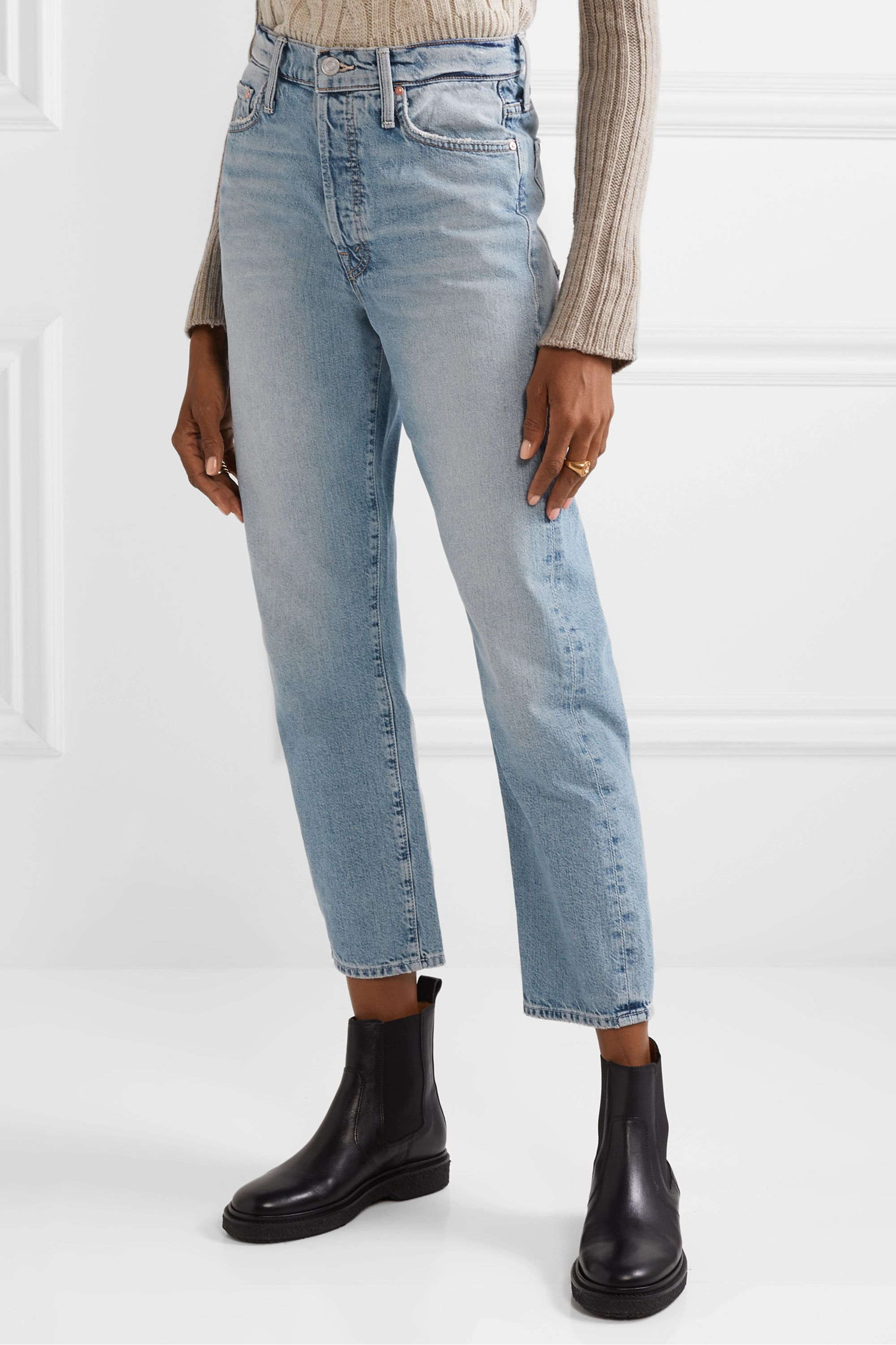 Mother The Huffy Flood cropped high-rise straight-leg jeans