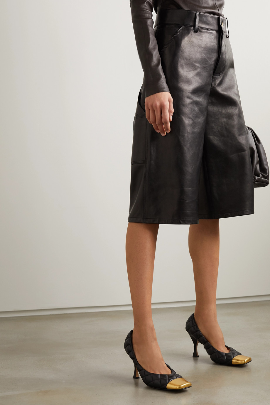 Bottega Veneta Quilted leather and gold-tone pumps
