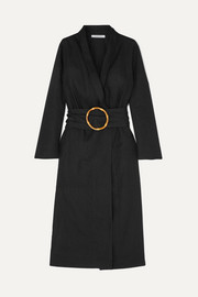 Belted linen robe
