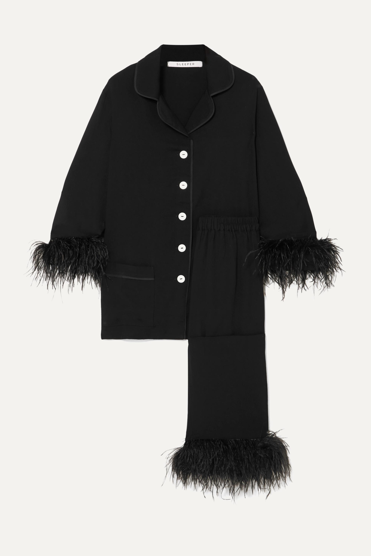 Sleeper Black Tie feather-trimmed crepe de chine pajama set