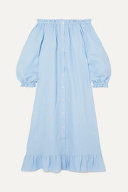 Ruffled off-the-shoulder linen midi dress