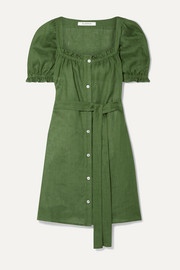 Brigitte belted linen mini dress