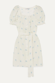 Brigitte belted printed linen mini dress