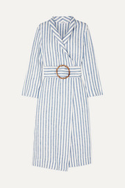 Belted striped linen-gauze robe