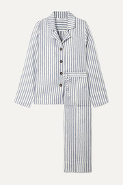 Striped linen-gauze pajama set